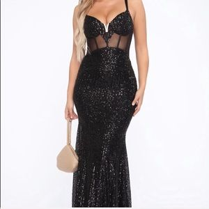 Sequin Gown - Black